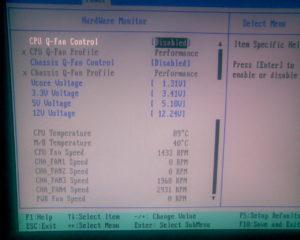 настройки оборотов кулера процессора Fan control